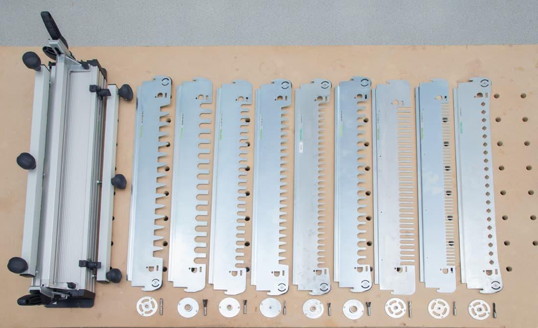 Fot. 1. System Festool VS 600: jednostka podstawowa i 9 wymiennych szablonów oraz pierścieni kopiujących