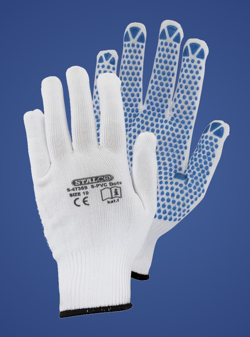 rękawice poliestrowe StalcoPrem S-PVC Dotc_S-47384_blue